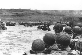 "Soldiers crowd a landing craft on their way to ""Omaha"" Beach during the Allied Invasion of Europe, D-Day, June 6, 1944. SC189986, Source: U.S. Army"