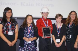 Left to Right: Team Members - Elise Brown Thunder, Emily Cordero, and Joseph Rice, Sarah Skrnich - Project Manager, and Robin Rice - Teacher
