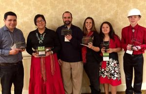 (Left to Right) Kain Rivera – Engineering Mentor, Elise Brown Thunder - Team Member, Joseph Szoltysik – co-Teacher, Robyn Rice – Teacher, and Emily Cordero and Joseph Rice – Team Members (This photo was taken at the National Finals on Tuesday, 02.17.2015)